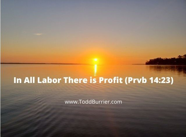 Proverbs 14:23-In all Labor there is profit…